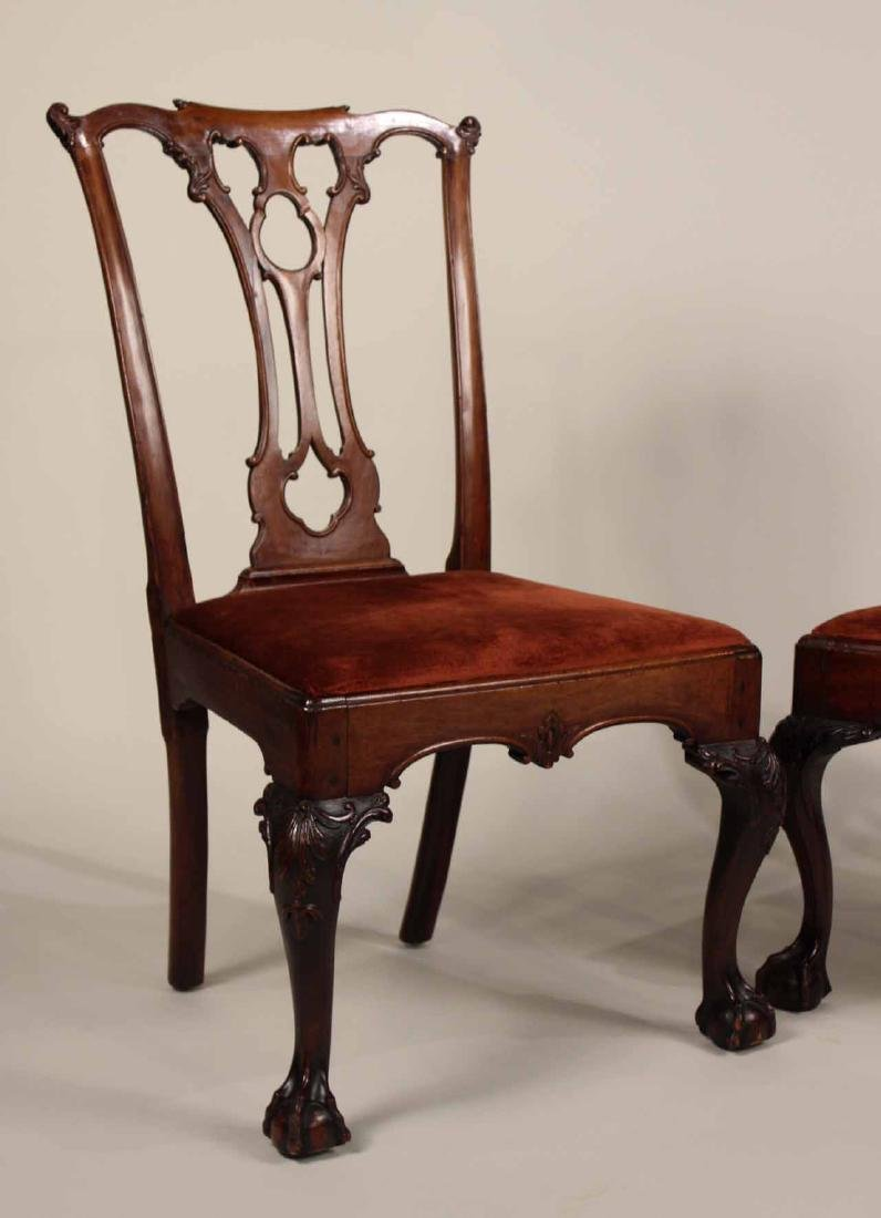 Near Pair of Chippendale Mahogany Side Chairs - 2