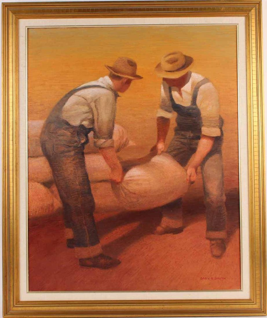 Oil on Canvas, Gary E Smith, Two Men at Work