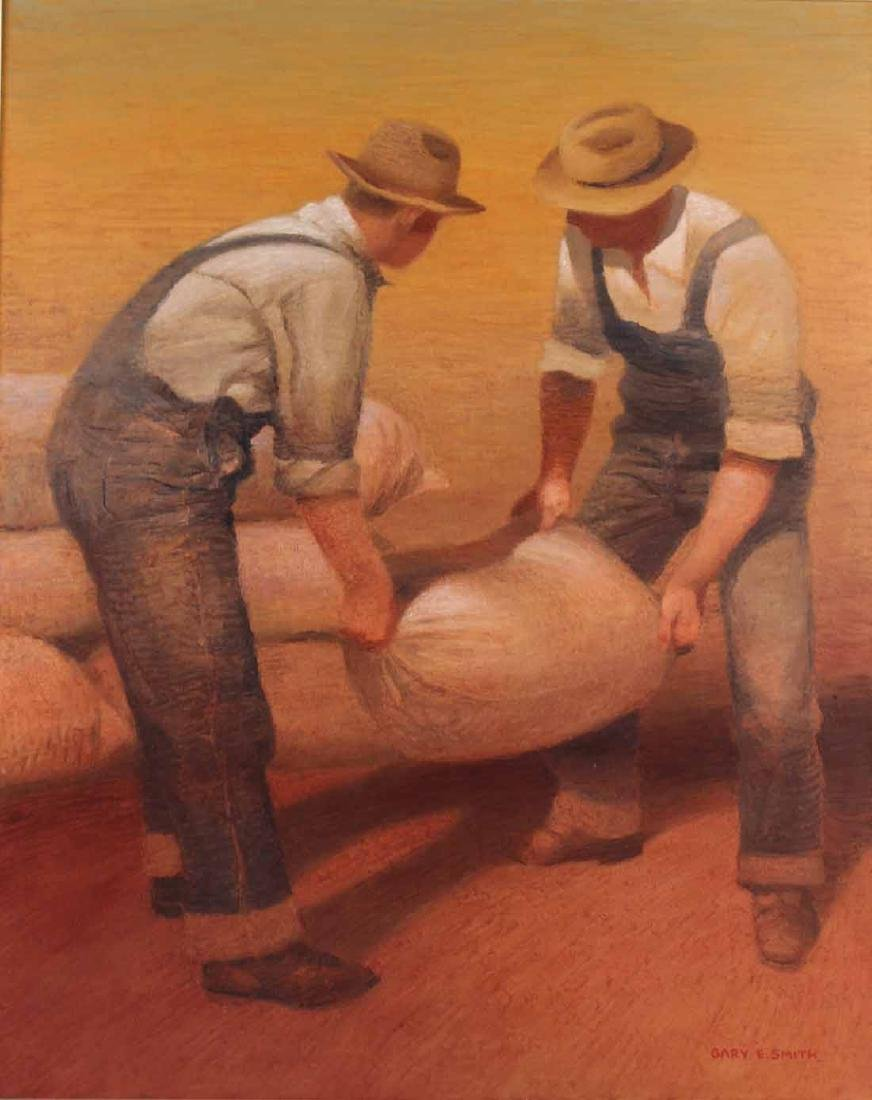 Oil on Canvas, Gary E Smith, Two Men at Work - 2