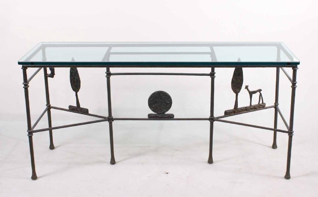 Diego Giacometti Style Iron Sofa Table