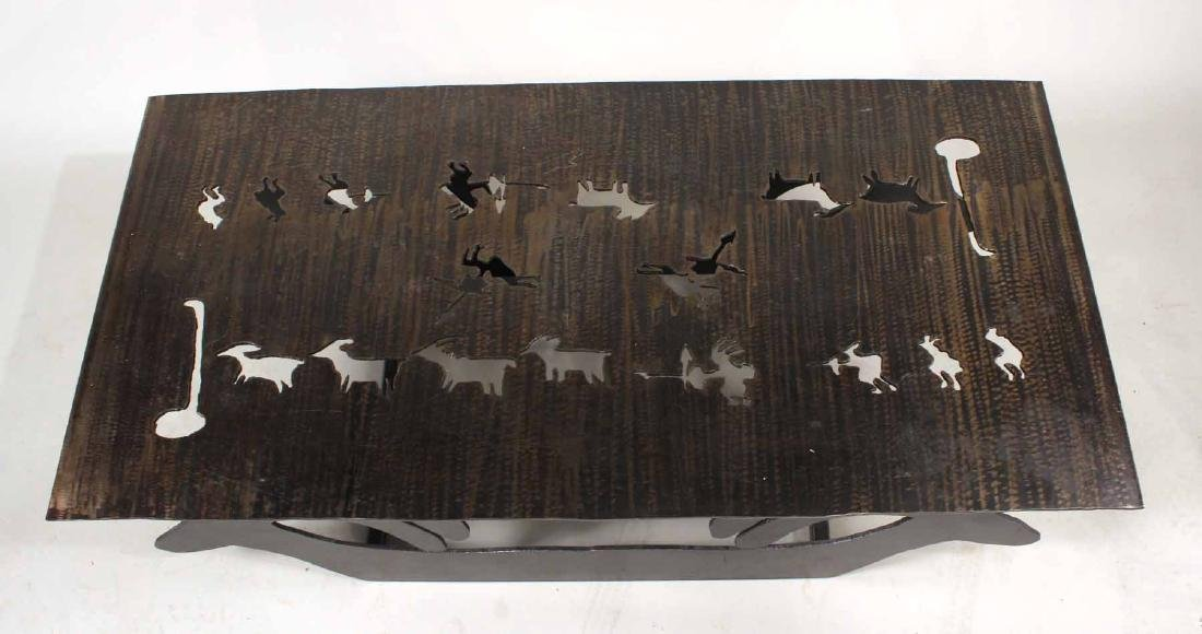 Modern Steel Table with Animal Cut Outs - 2