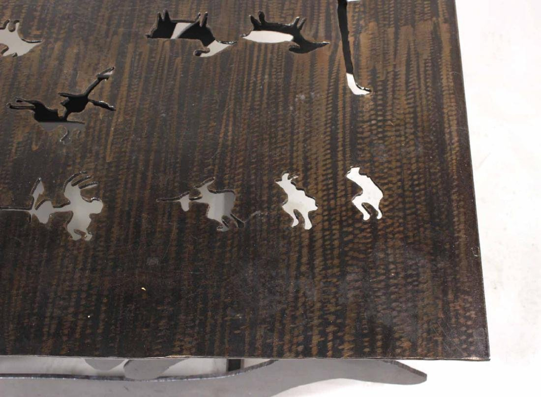 Modern Steel Table with Animal Cut Outs - 3