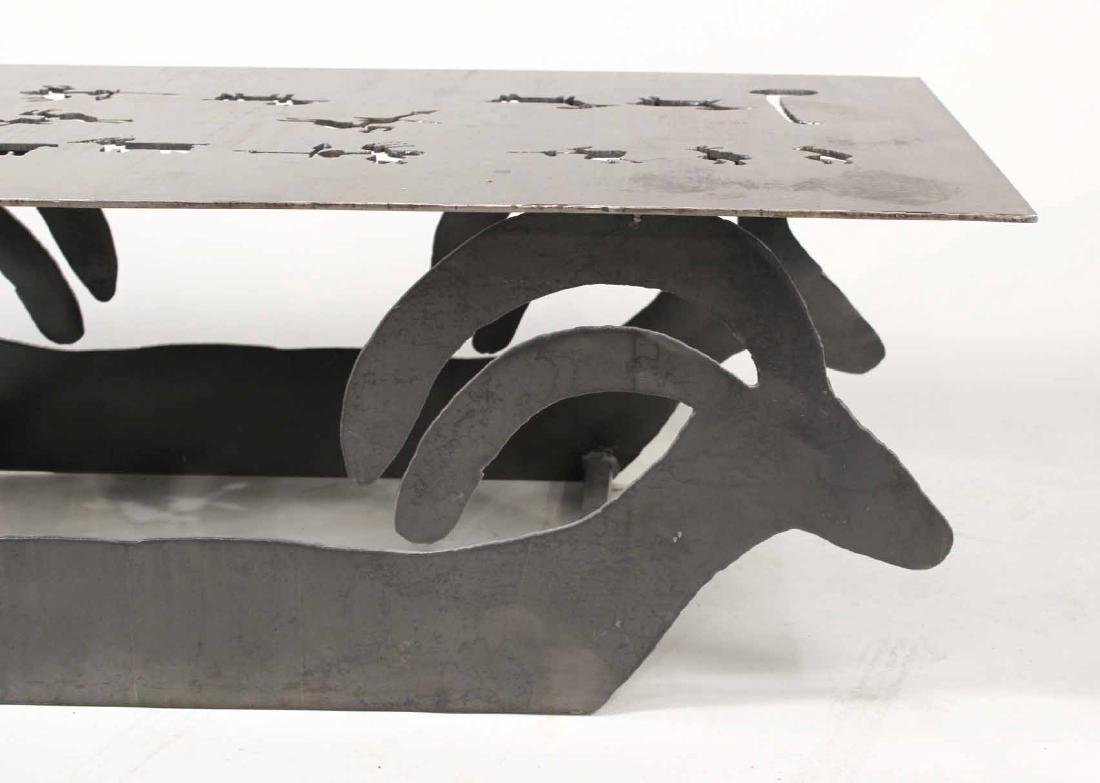 Modern Steel Table with Animal Cut Outs - 6