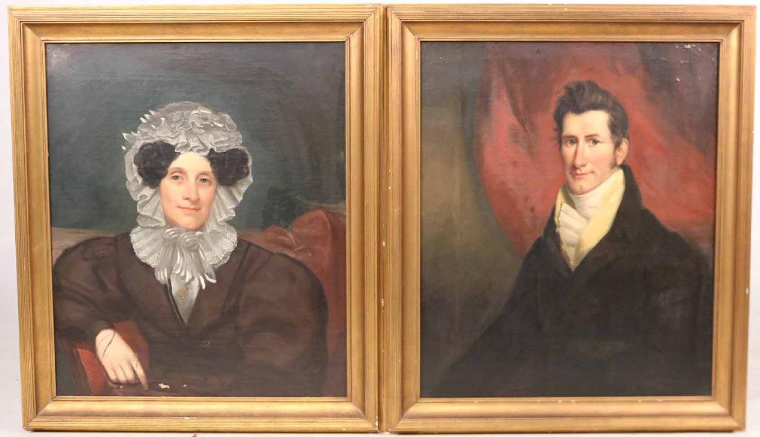 Pair of Oil on Canvas Portraits - 2