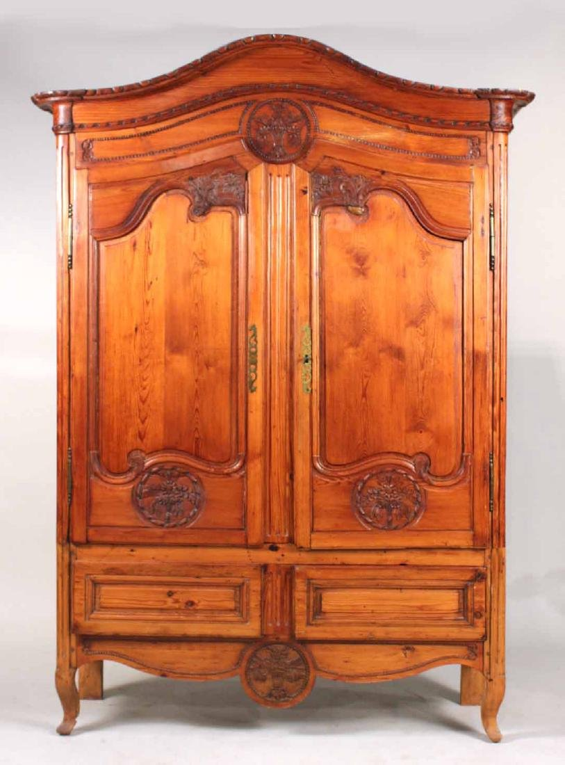 Louis XV Carved Pine Diminutive Armoire