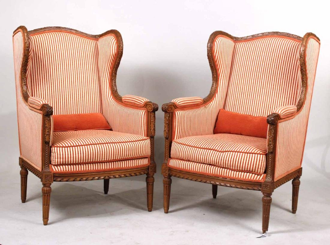 Pair of Louis XVI Style Wing Chairs