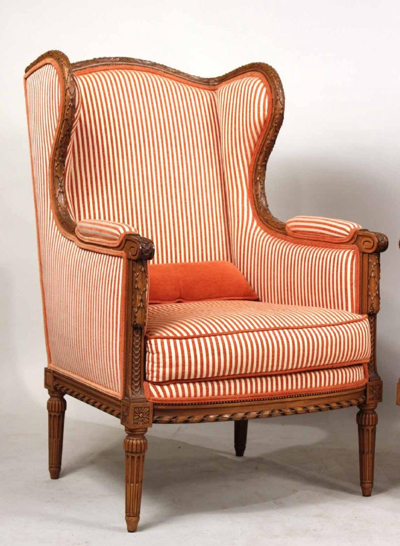 Pair of Louis XVI Style Wing Chairs - 2