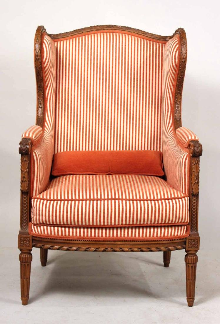 Pair of Louis XVI Style Wing Chairs - 5