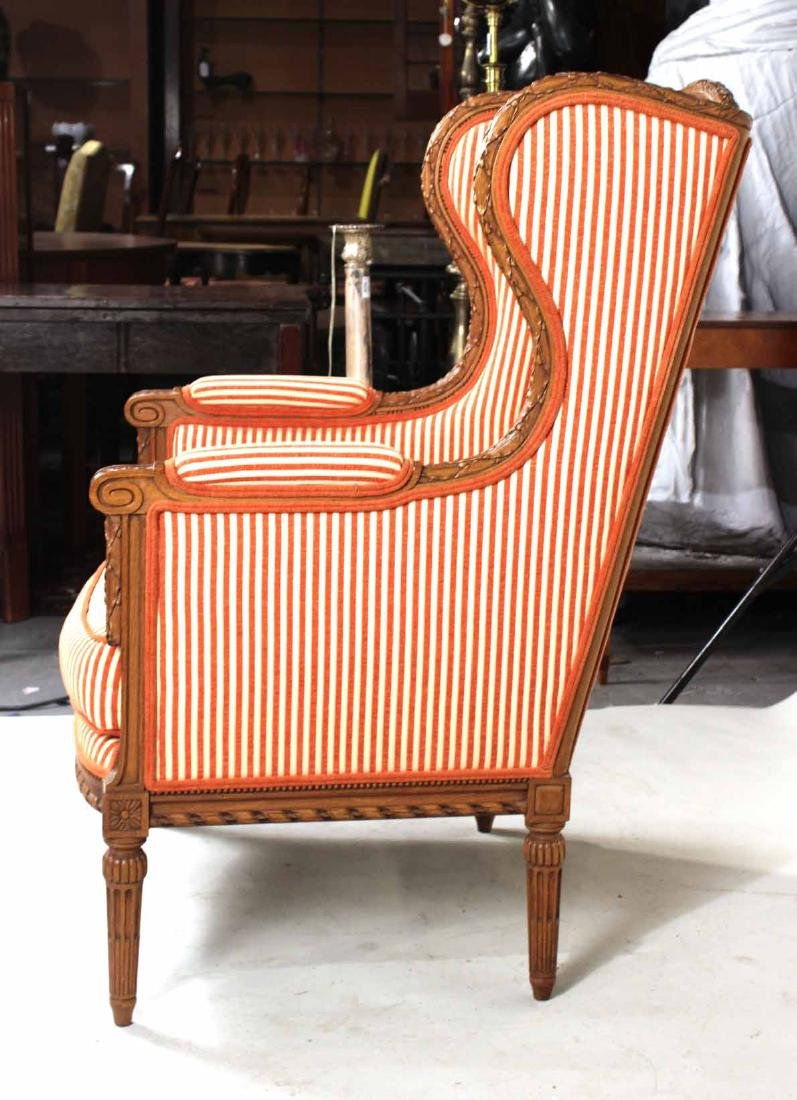 Pair of Louis XVI Style Wing Chairs - 7