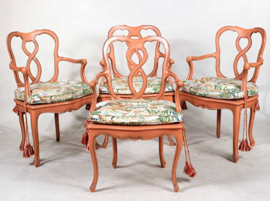 Four Painted Louis XV Style Armchairs