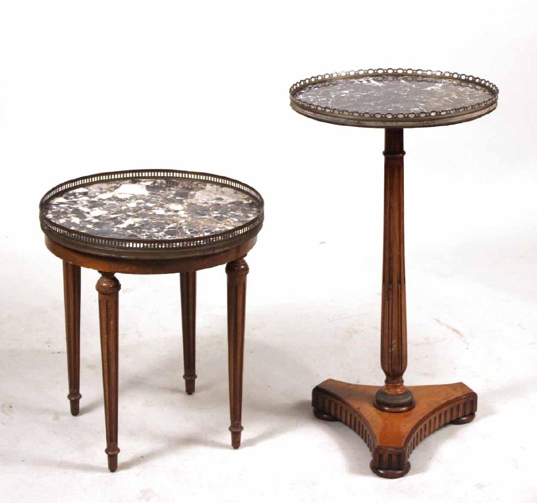 Two Louis XVI Walnut Marble Top Gueridons