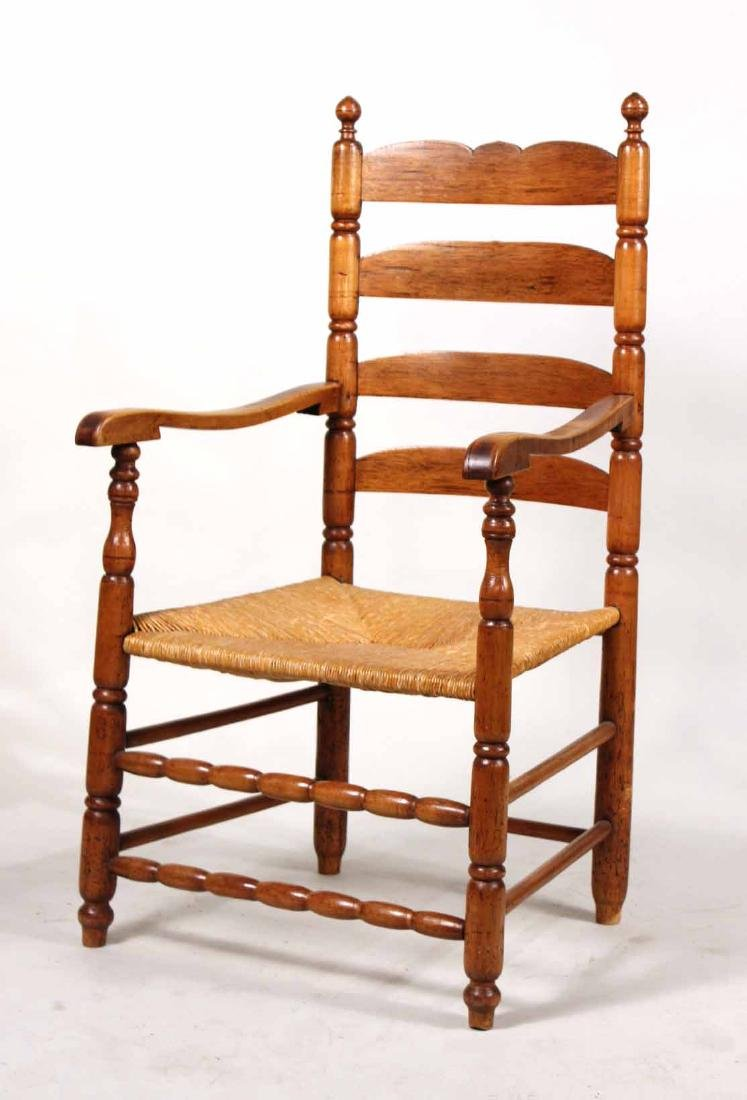 Turned Maple Rush Seat Slat-Back Armchair
