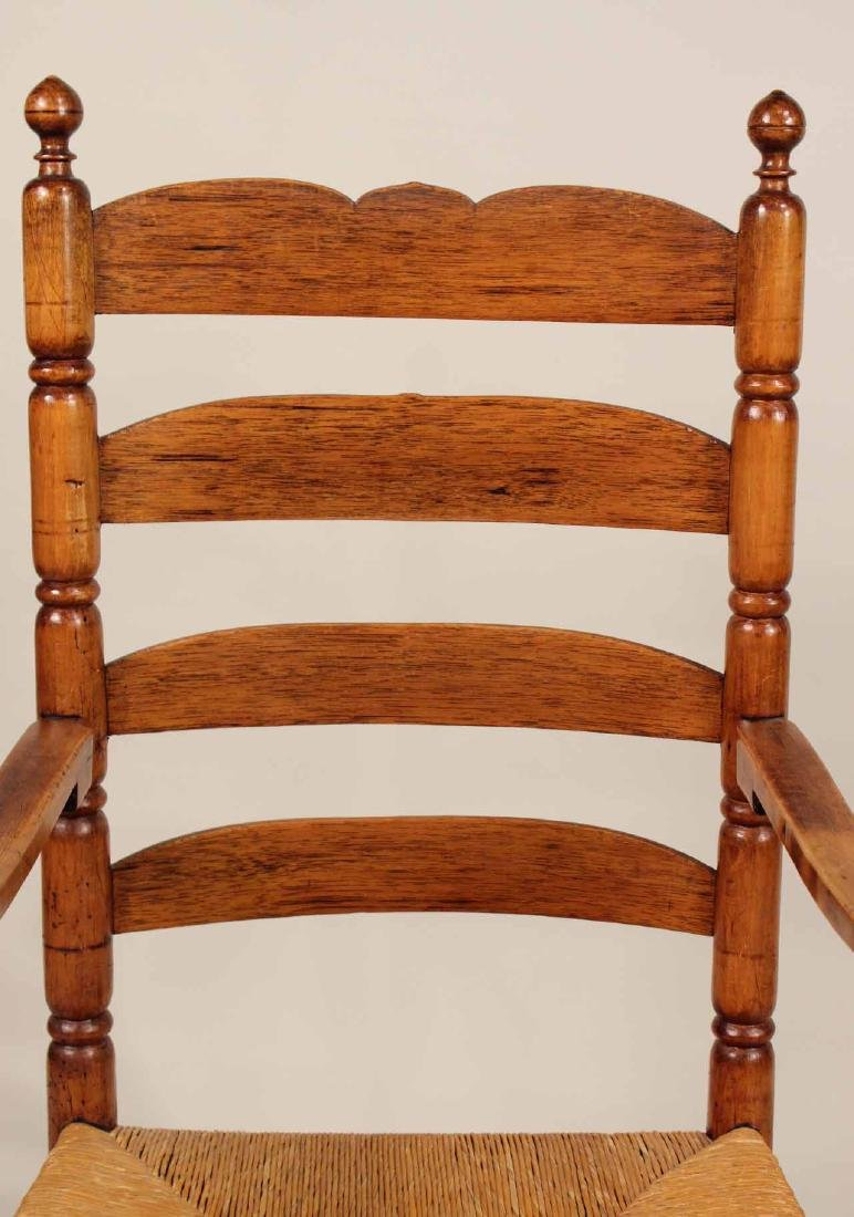 Turned Maple Rush Seat Slat-Back Armchair - 5