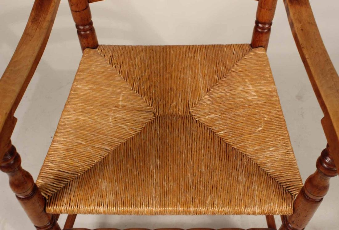 Turned Maple Rush Seat Slat-Back Armchair - 6
