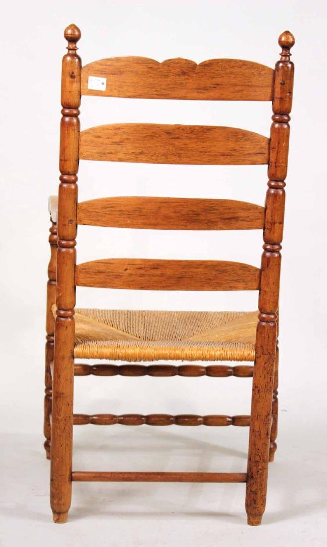 Turned Maple Rush Seat Slat-Back Armchair - 9