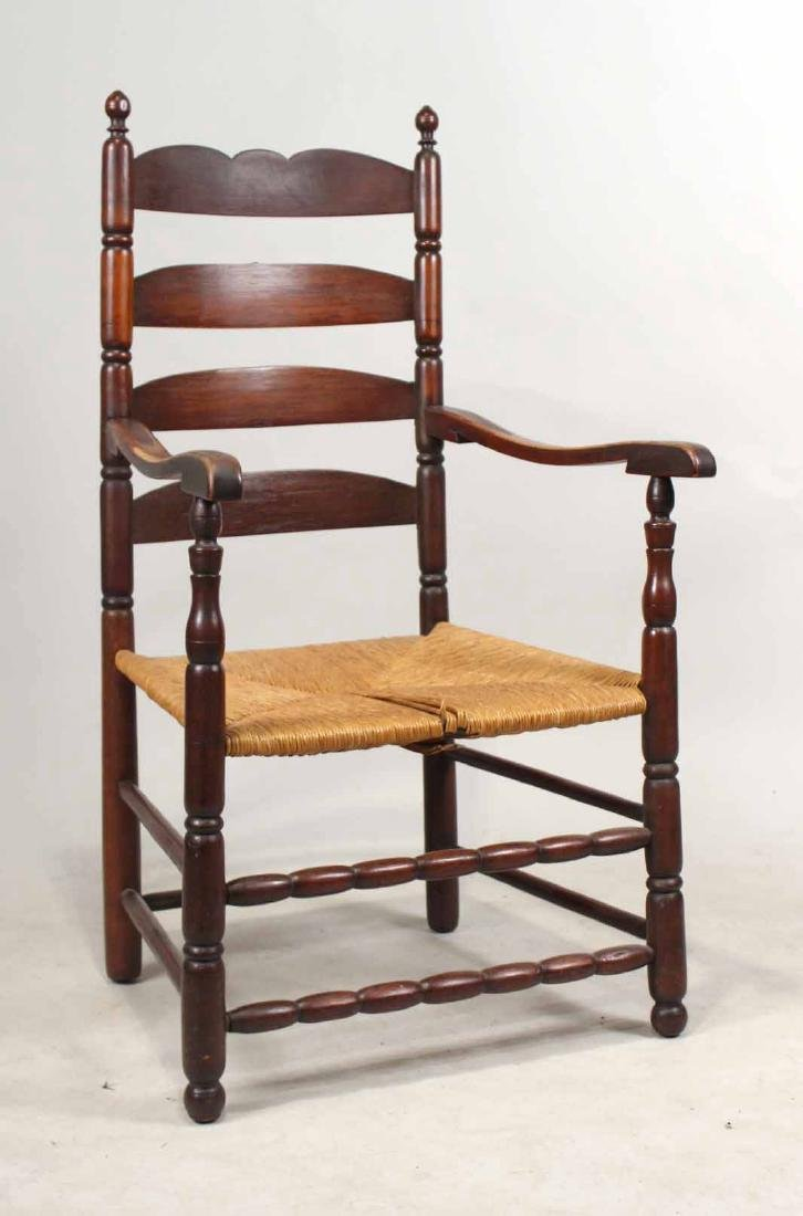 Brown-Stained Turned Maple Rush-Seat Armchair