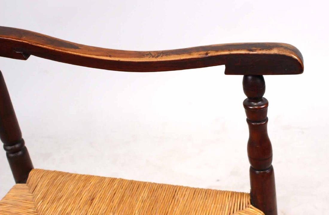 Brown-Stained Turned Maple Rush-Seat Armchair - 4