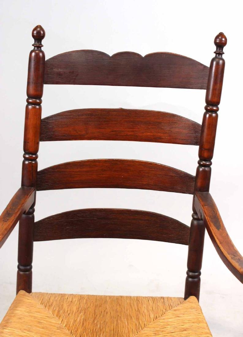 Brown-Stained Turned Maple Rush-Seat Armchair - 5