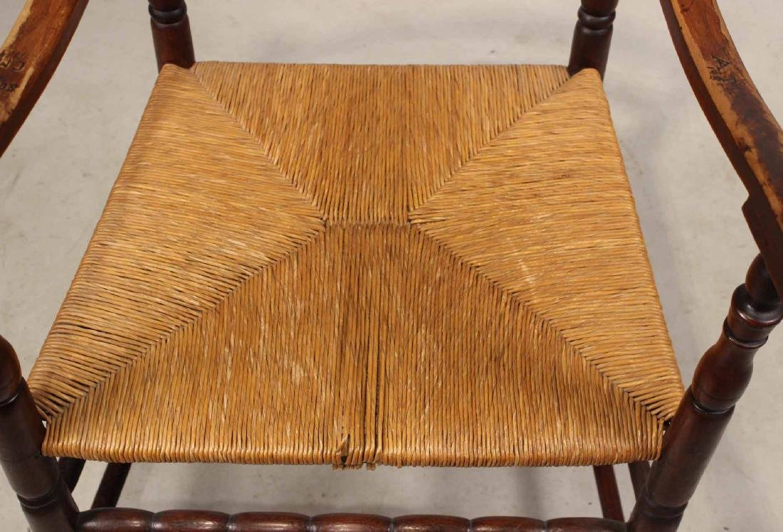 Brown-Stained Turned Maple Rush-Seat Armchair - 6