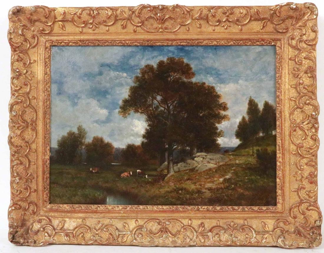 Oil on Canvas, Landscape with Cows, David Johnson