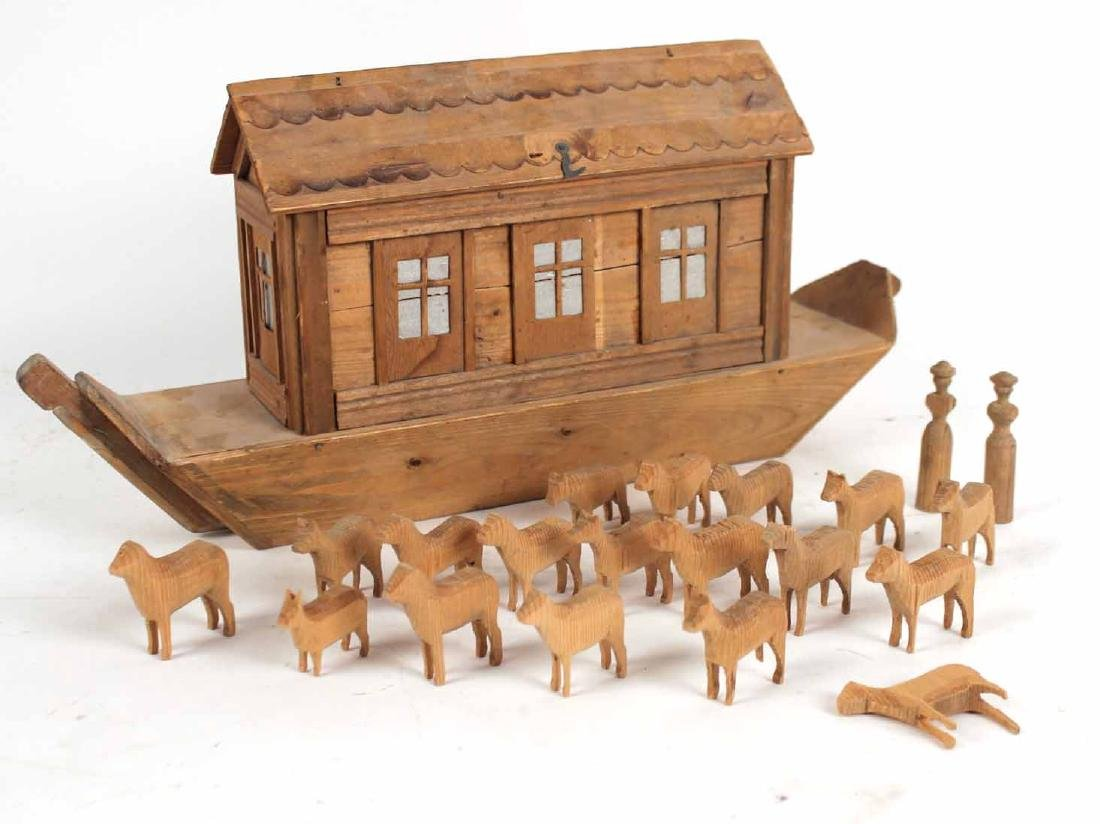 Carved Wood Noah's Ark Toy