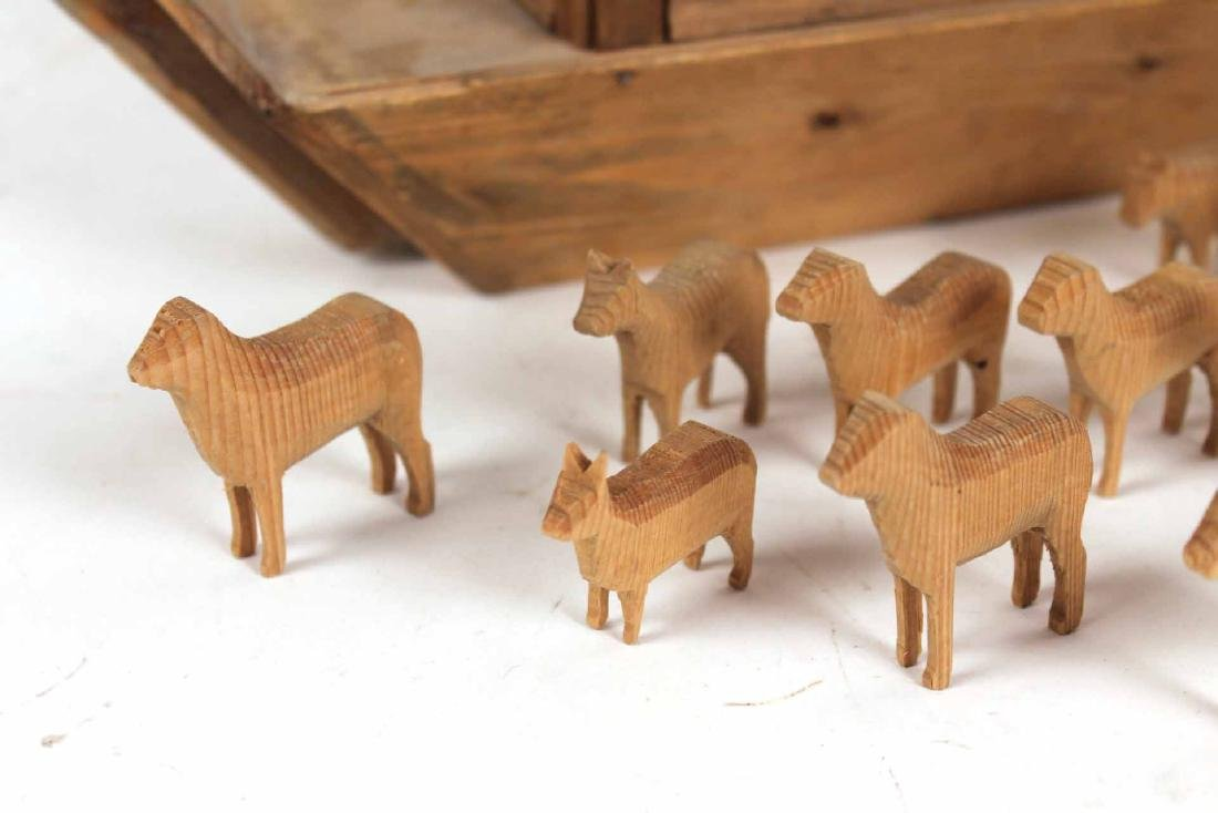 Carved Wood Noah's Ark Toy - 2