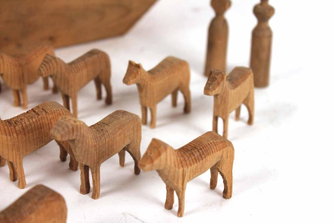 Carved Wood Noah's Ark Toy - 4