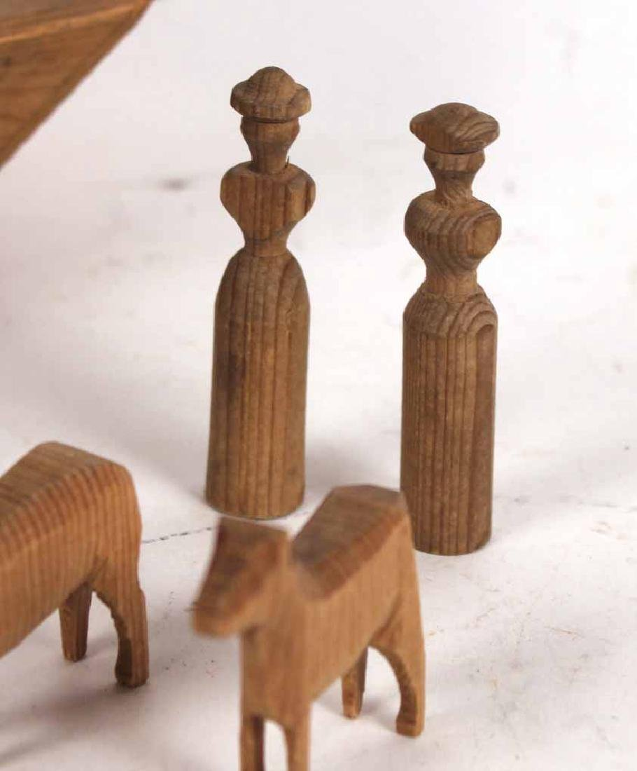 Carved Wood Noah's Ark Toy - 7