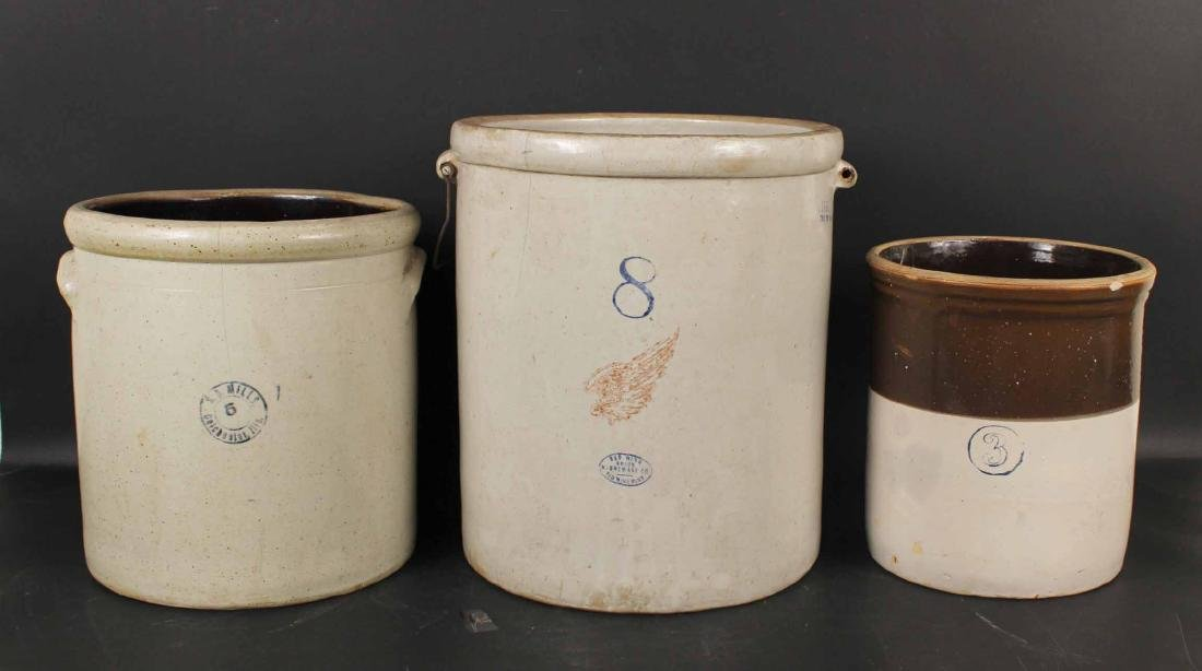 Three Stoneware Crocks