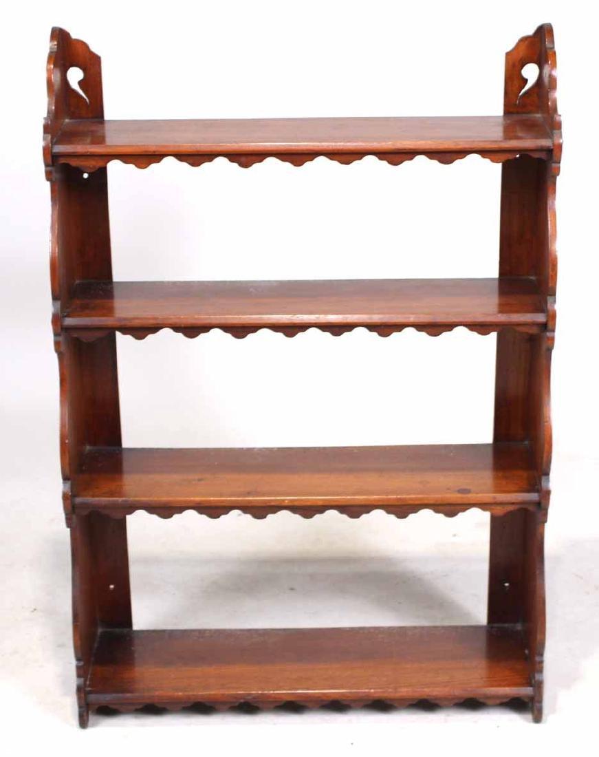 Mahogany Hanging What-Not Shelf - 4