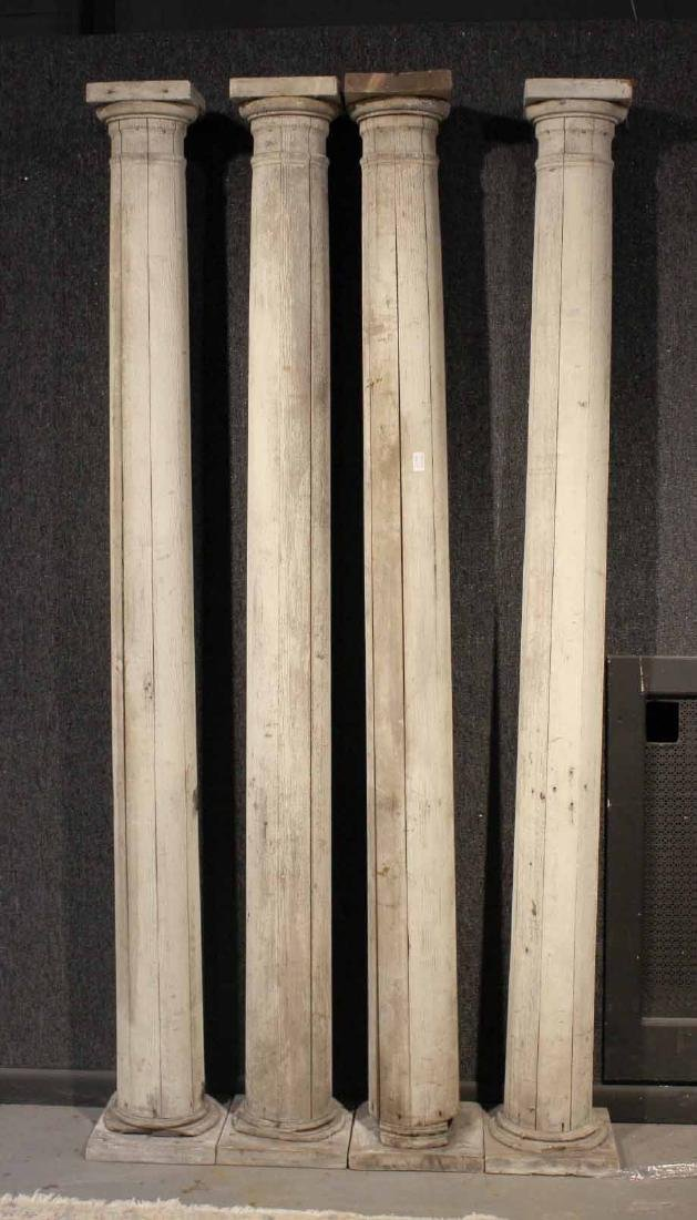 Four White-Painted Wood Columns