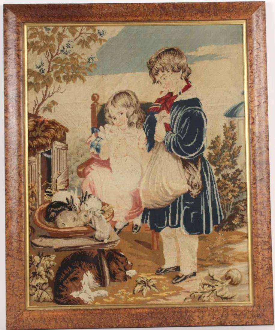 Needlework of Two Children with Rabbits and Dog