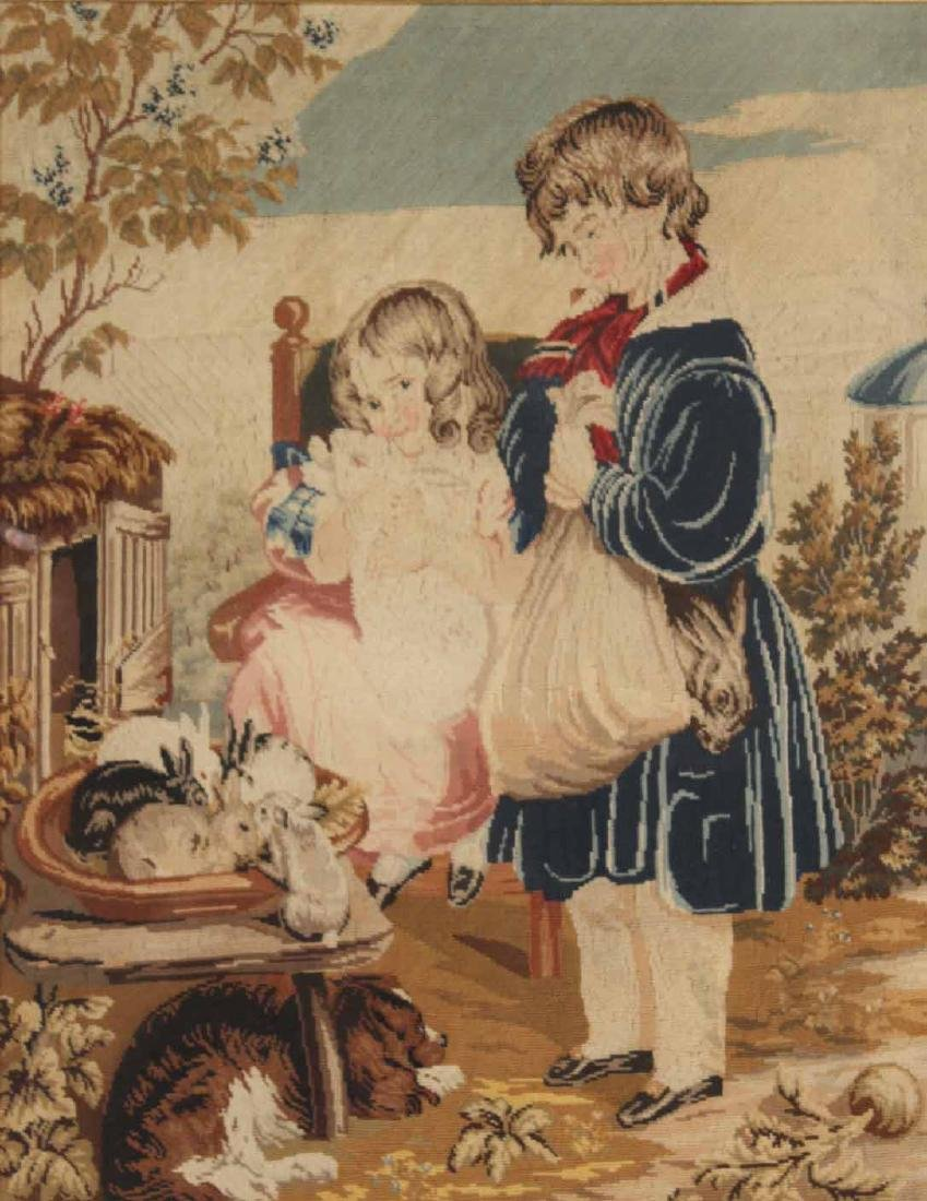 Needlework of Two Children with Rabbits and Dog - 2
