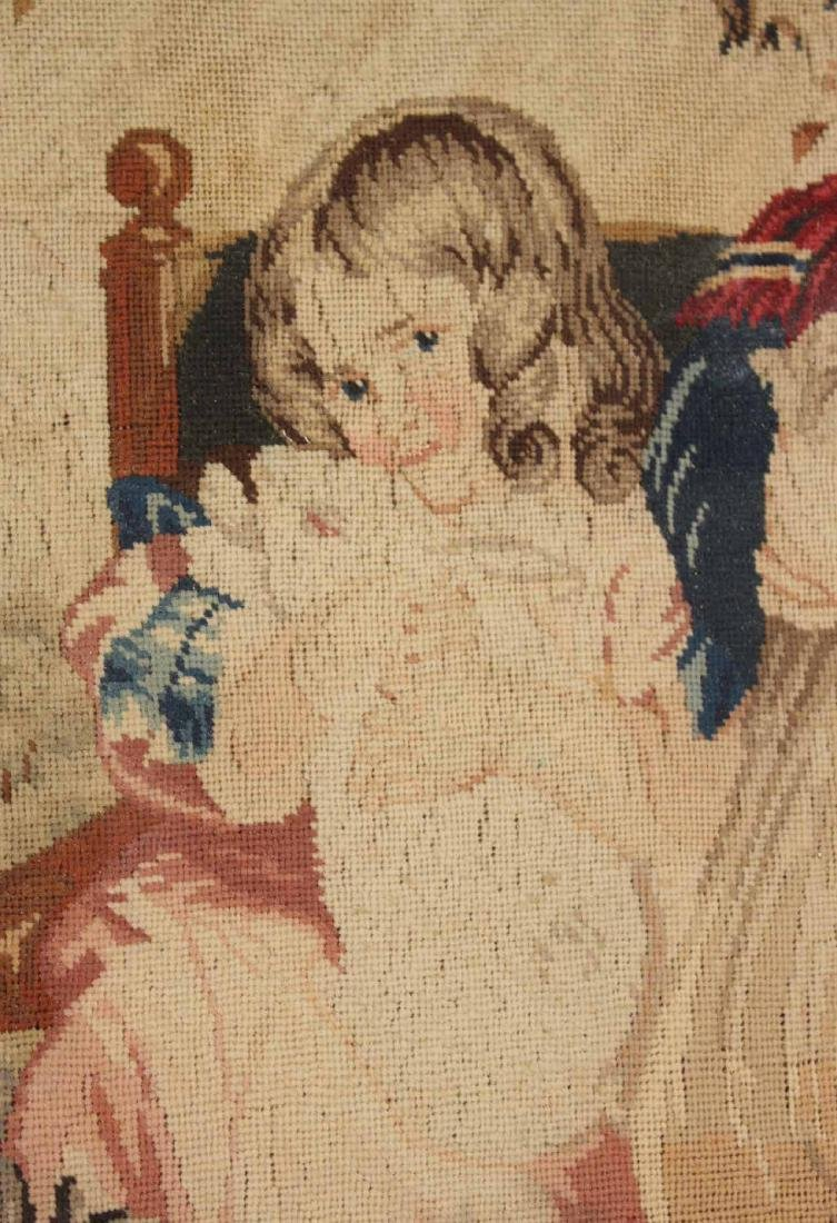 Needlework of Two Children with Rabbits and Dog - 3