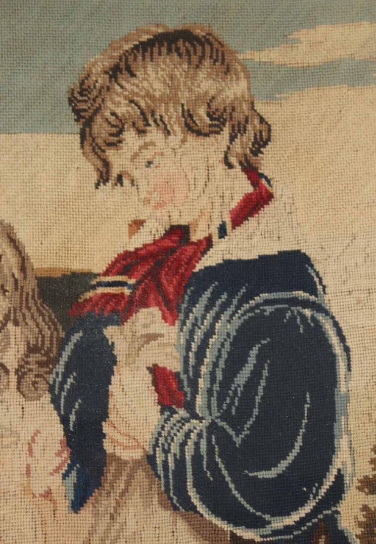 Needlework of Two Children with Rabbits and Dog - 4