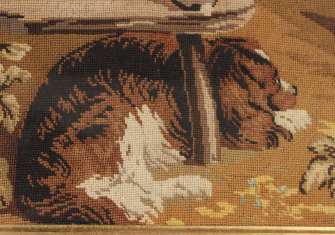 Needlework of Two Children with Rabbits and Dog - 5
