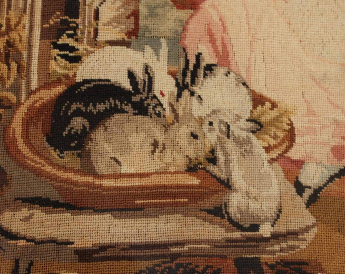 Needlework of Two Children with Rabbits and Dog - 6