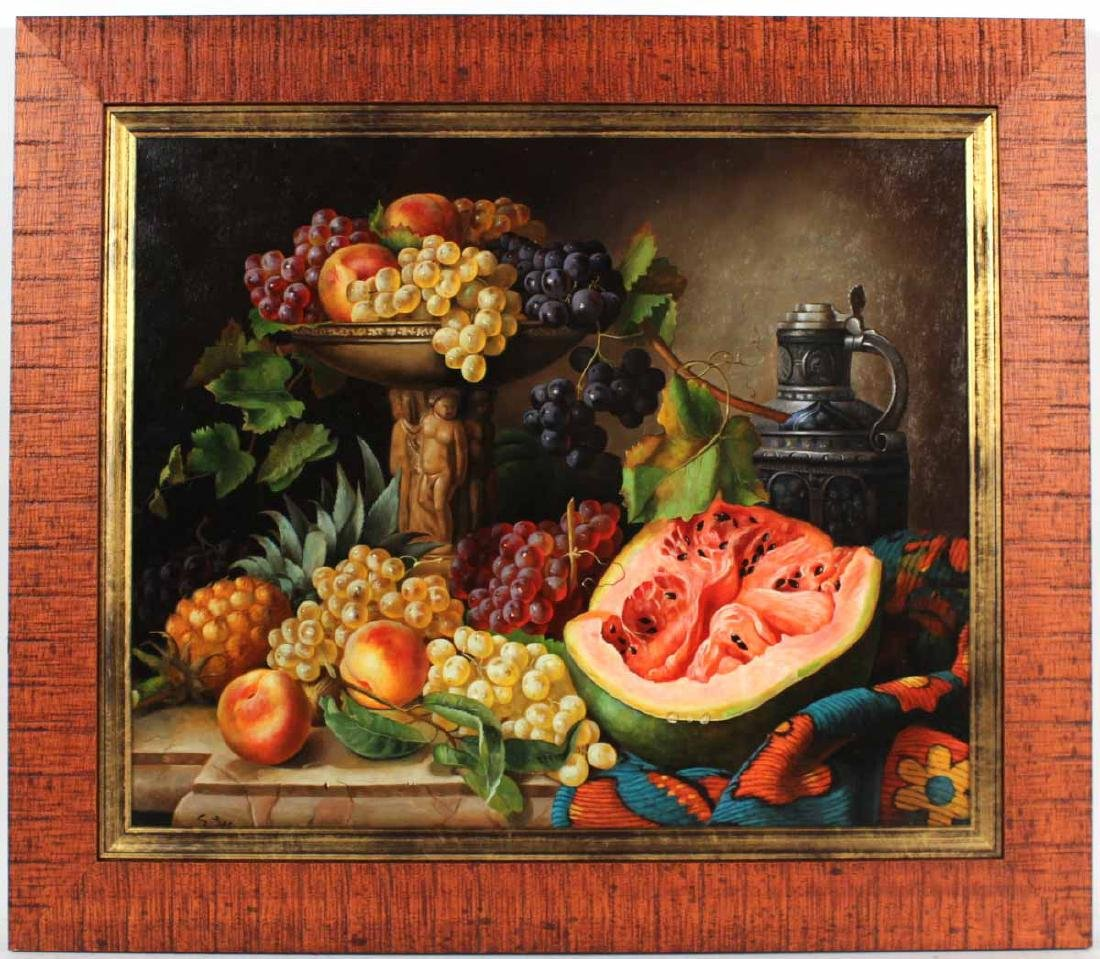 Oil on Canvas, Still Life of Fruit, S. Lee