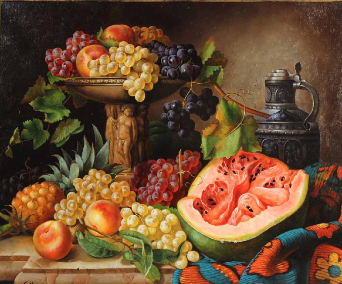 Oil on Canvas, Still Life of Fruit, S. Lee - 2