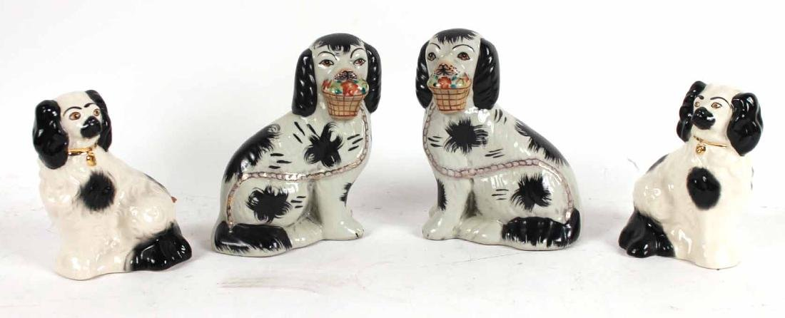 Four Staffordshire Porcelain Dogs
