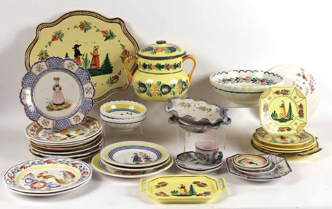 Large Group of Quimper Ceramic Table Articles