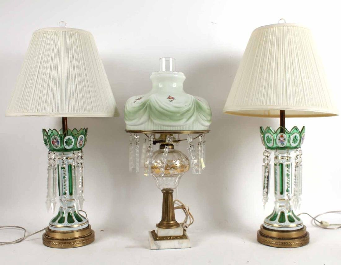 Pair of Cased Glass Lustres Table Lamps