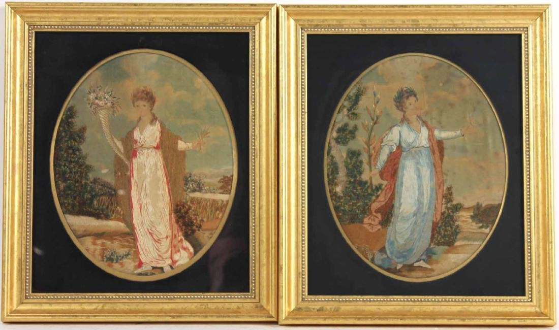Pair of Neoclassical Needlework on Silk Figures