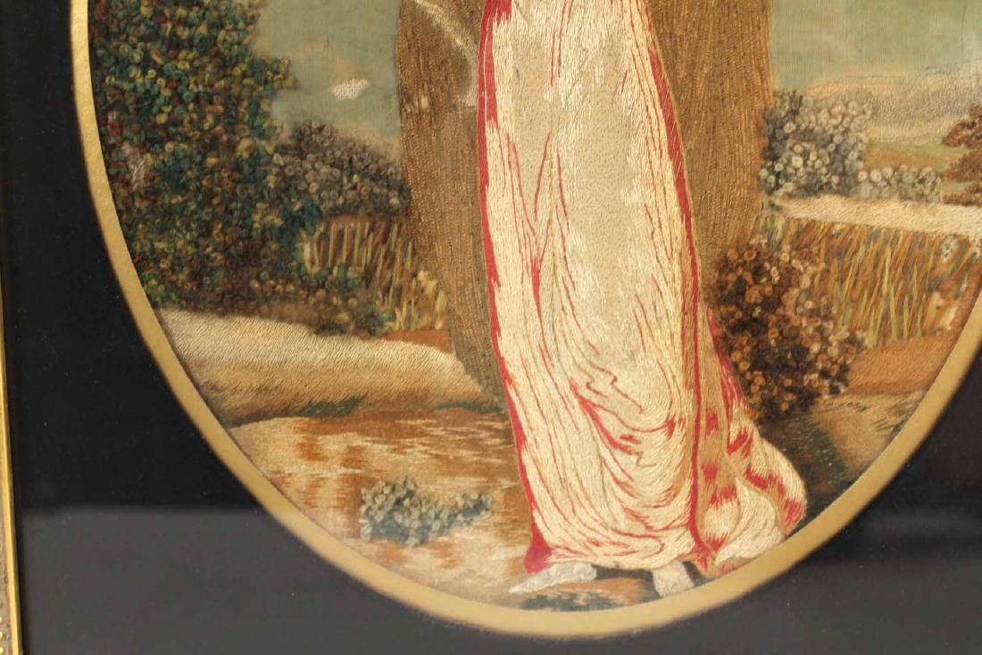 Pair of Neoclassical Needlework on Silk Figures - 7