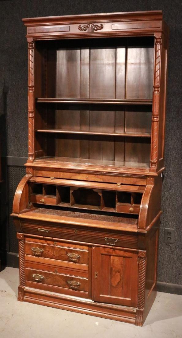 Victorian Walnut Roll-Top Secretary Bookcase