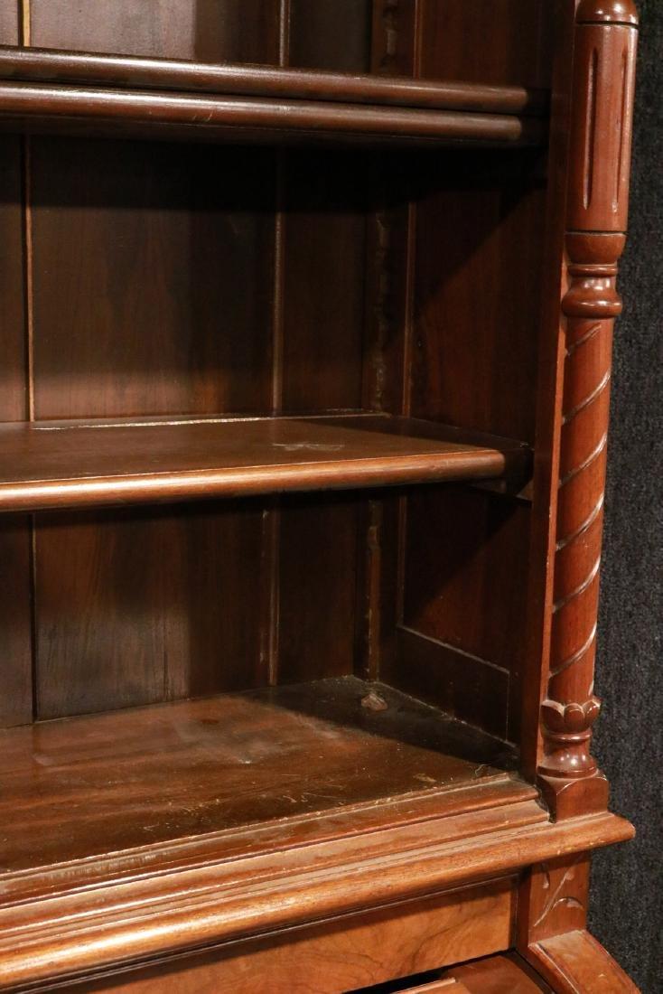 Victorian Walnut Roll-Top Secretary Bookcase - 3