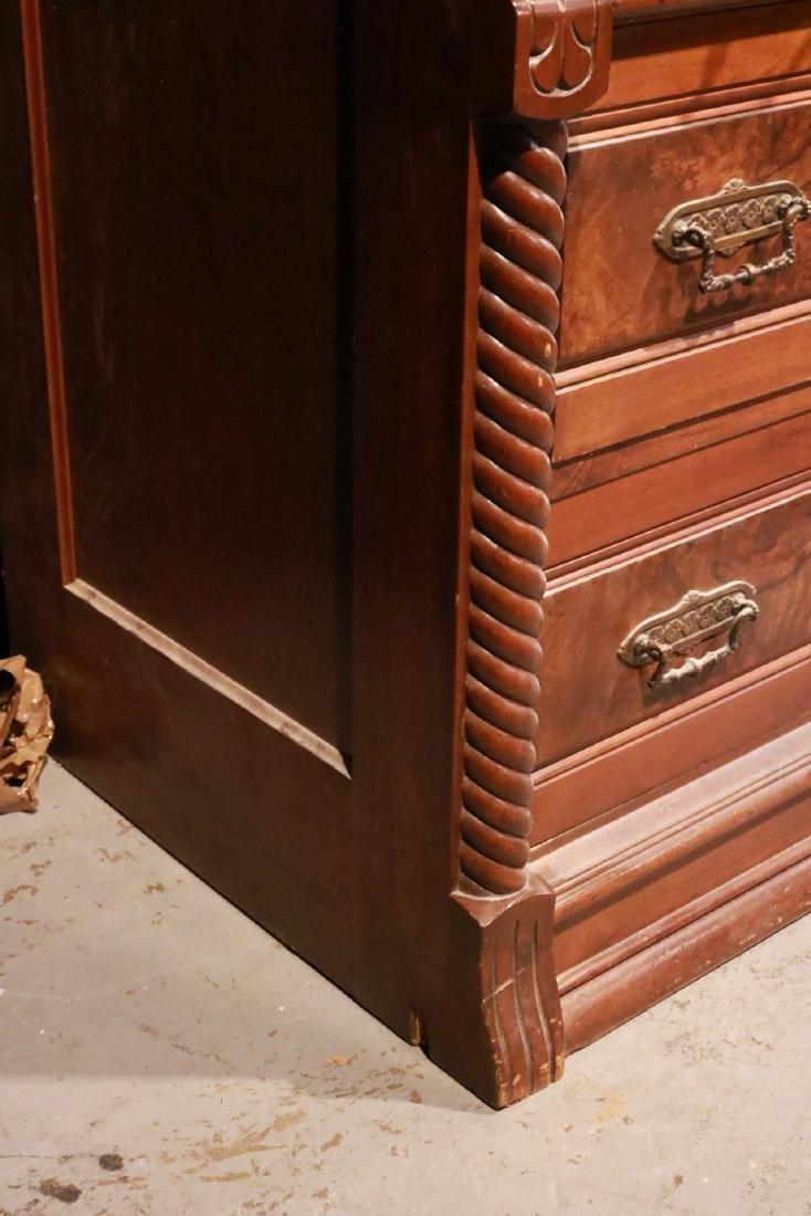 Victorian Walnut Roll-Top Secretary Bookcase - 5