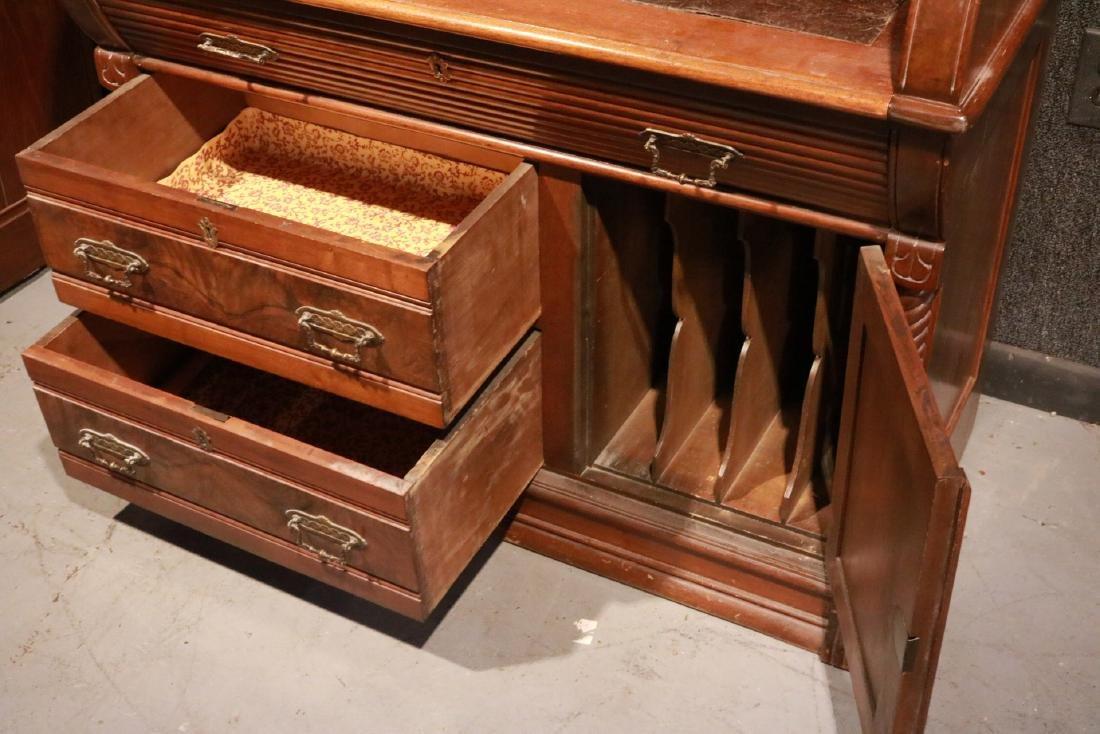 Victorian Walnut Roll-Top Secretary Bookcase - 6