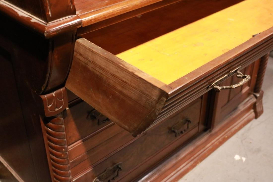 Victorian Walnut Roll-Top Secretary Bookcase - 9