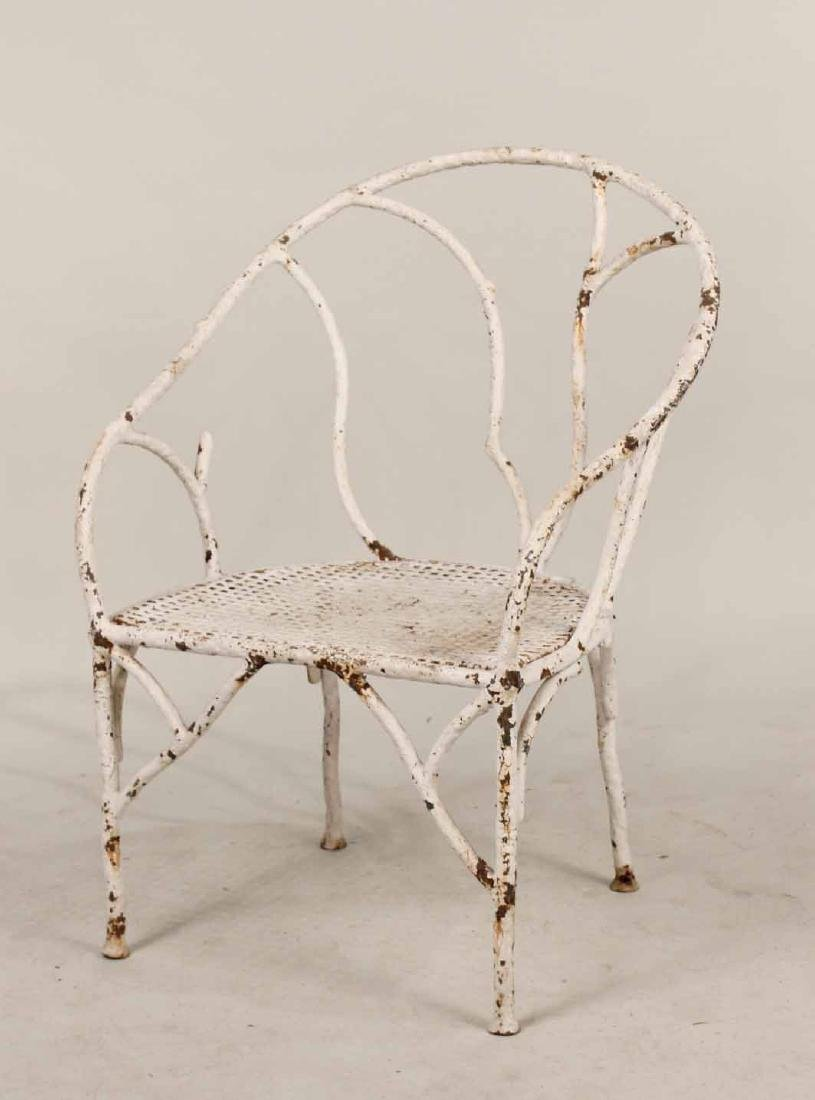White-Painted Wrought-Iron Armchair